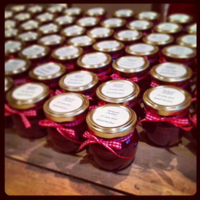 Strawberry jam wedding favours